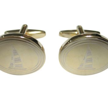 Gold Toned Etched Oval Nautical Sail Boat Cufflinks