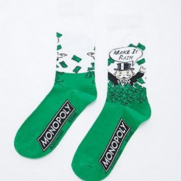 Monopoly Make It Rain Socks in Green - Urban Outfitters
