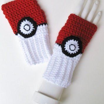 Poké Ball Wristwarmers, Pokeball, Pokémon Trainer Gloves, Ketchum Pocket Monster Fingerless Texting Gloves, Ready to Ship