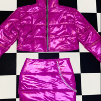 SWEET LORD O'MIGHTY! BRATITUDE PUFFER JACKET IN MAGENTA