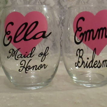 Wine Glass DECAL ONLY Diy ~ Custom Personalized Bridal Party Title ~ Do It Yourself ~ Glasses NOT Included ~ Bride Bridesmaid Maid of Honor