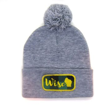 Wisconsin Beanie Gray - Wisco Pom Pom Hat
