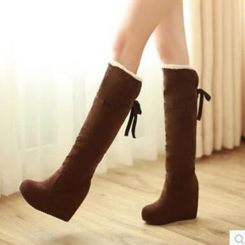 High-heeled snow boots 2016 winter with the new Korean women's boots slope with high  waterproof boots winter