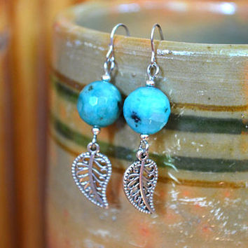 FREE SHIPPING! Bead Earrings Beaded Dangle Drop Leaf Earrings Handmade Ukrainian Earrings Natural Stone Earrings Women Jewelry Gift for her