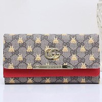 Gucci Bee Stylish Women Metal GG Letter Leather Buckle Wallet Purse Red I