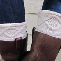 Boot Socks-Full Boot Sock Included- Boot Cuff-Boot Topper-Cream Cable Knit-Full sock included