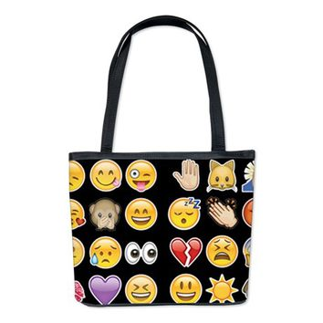 black emoji Bucket Bag