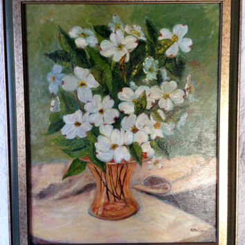 Vintage 1970 Daisy Oil on Canvas Still Life Framed Painting by Nellie McClure