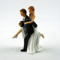 Wedding Marriage engagement decoration Gift Playful Football Soccer WEDDING bride and groom Couple Cake Topper figurine