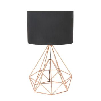 Drum Shape Table Lamp With Copper String Base - 50589 by Benzara