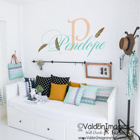 Feathers with name nursery wall decal, nursery decor, kids wall decal, boho decor, bohemian decor, nursery decals, childrens name decal