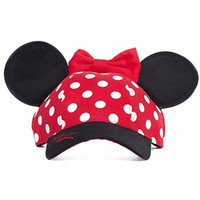 Walt Disney World Minnie Mouse Polka Dot Baseball Cap Hat Ears Youth Small Adult
