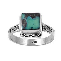 Sterling Silver Wedding & Engagement Ring Simulated Turquoise Ladies Ring 11MM ( Size 6 to 9) Size 6