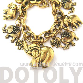 Cute Elephant Themed Charm Bracelet | Animal Jewelry