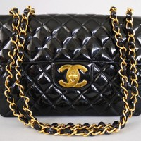 Chanel Vintage Black Patent Jumbo Classic Flap Bag | Portero Luxury