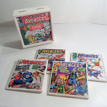 Avengers Vintage Comic Book Covers Wooden Box and Ceramic Coaster Set - includes 4 coasters