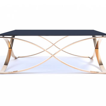 Modern Smoked Gold Square Coffee Table
