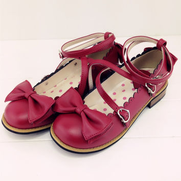 Low Round with Cross Strap Bow Cute Princess Tea Party Shoes