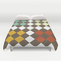 Checkers Fall Duvet Cover by Dena Brender Photography