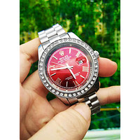 Free shipping-Rolex men and women tide brand simple fashion wild quartz watch Silver+red