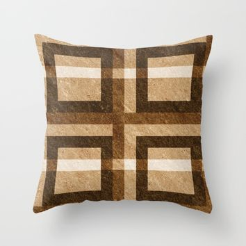 Brown Block Pixel Pattern Throw Pillow by Likelikes   Society6