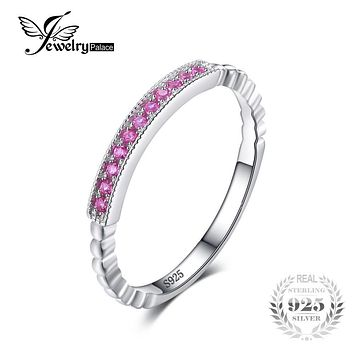 JewelryPalace 925 Sterling Silver Created Pink Sapphire Rope Band Stackable Ring 22 PC Pink Sapphire for Women Engagement Ring