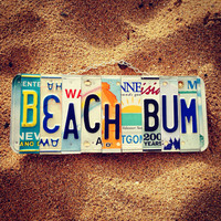 License plate. Beachdecor. Beachbum. Travel. Bedroom. Christmas. Teen. Beach. Sign. Recycled. Art. Sunshine. Sun