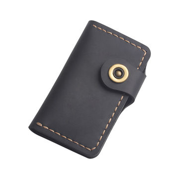 Handcraft Men's Leather Key Wallet - Hand-Stitched Leather Key Holder - Minimalist Key Wallet - Mens Gift - Father Gift