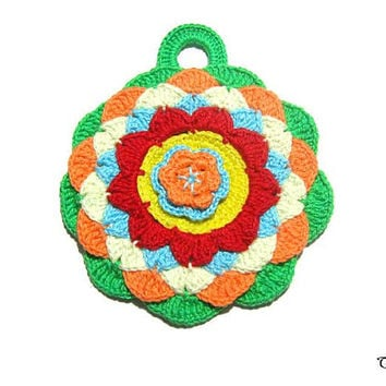 Colorful crochet potholder, Handmade potholder, Presina colorata