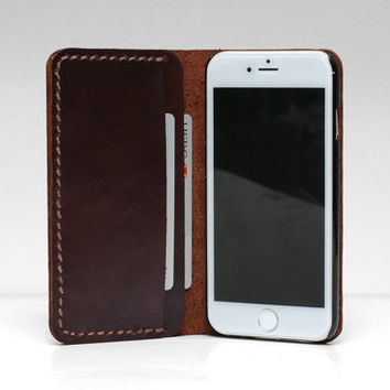 Personalized Leather IPhone 6s Wallet / 6s Plus Case / Leather Iphone 6 Sleeve / IPhone 6 Plus Case Wallet / Oil Cow Leather Dark Brown II