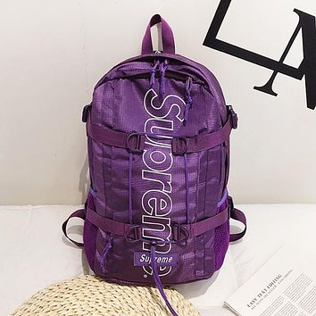 Supreme Fashion New Letter Print Women Men Travel Leisure Backpack Bag Purple