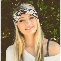 Navy Blue Floral Twist Headband