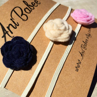 Felt Flower Headband, Baby Headband Set, Navy Flower Headband, Ivory Felt Flowers, Pink Flower Headband