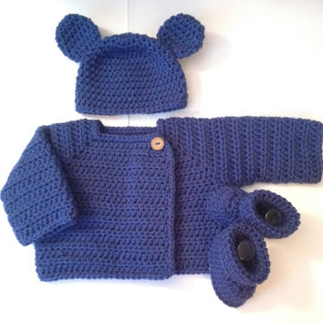 Adorable Front Wrap Sweater, Booties/ Shoes & Bear Hat -  Newborn to 3 months - Any Color