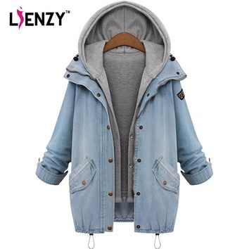 LIENZY Autumn Women Denim Jacket Coat Hoodies Boyfriend Loose Vintage Thicken 2 in 1 Long Women Jean Coat Big Size 4XL