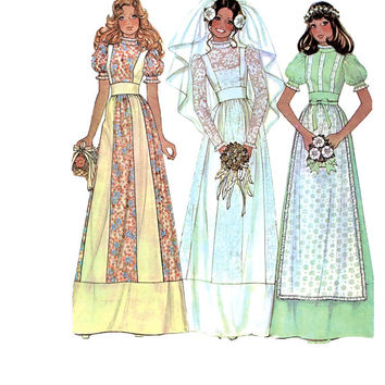 Vintage 1970s McCalls 4038 Country/Prairie/Boho Wedding Dress/Gown, Bridesmaid Dress- apron -Size 10/Bust 32.5 -UNCUT Vintage Sewing Pattern
