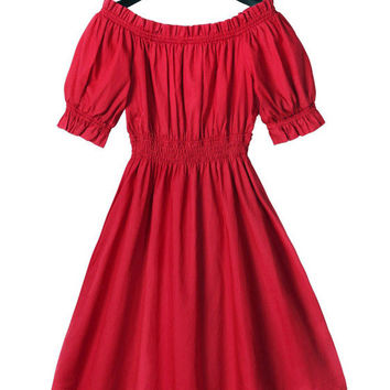 Red Puff Sleeve Ruffled A-line Mini Skater Dress