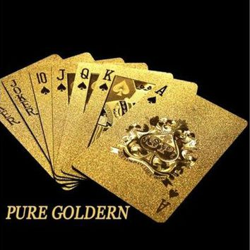 ONETOW Pure Golden Card Gold Plat Playing Cards Full Per Deck International Standard (Color: Gold) [8270502721]