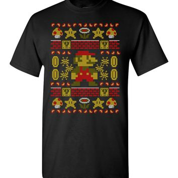Super Mario Bros Ugly Holiday Design Men's T-Shirt