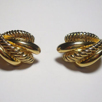 Vintage Gold Earrings clip on Premiere USA  costume jewelry