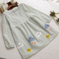 striped kawaii applique Clouds Raindrop o-neck long sleeve dress mori girl