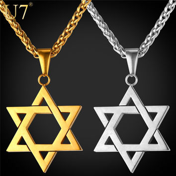 U7 Jewish Jewelry Magen Star of David Pendant Necklace Women Men Chain Rose Gold Plated Stainless Steel Israel Necklace P723