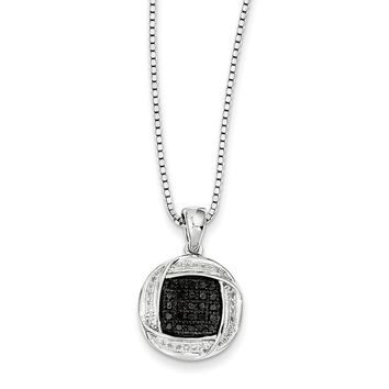 1/4 Cttw Black & White Diamond 15mm Circle Necklace in Sterling Silver