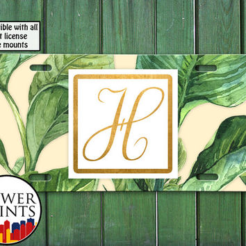 Gold Monogram Initial Tropical Leaves Island Custom Tumblr Personalized For Front License Plate Car Tag One Size Fits All Vehicle Custom
