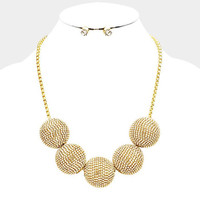 Gold Chunky Rhinestone Ball Bib Statment Necklace