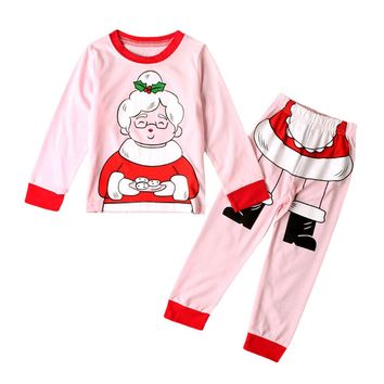 Kids Toddler Baby Girls Christmas Grandma Tops T-Shirt+Pants Outfits Suit Cartoon Print Infant Clothing Set