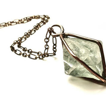 Caged Mint Fluorite Octahedron Necklace in Earth Toned Copper- Gemstone Pendulum
