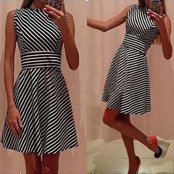 High Waist Stripe Patchwork A-Line Short Tank Dress