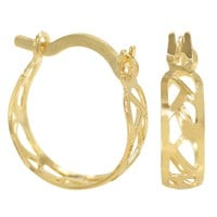 Gold Plated 18k Perforated Geometric Very Light Small Hoop Earrings 12mm