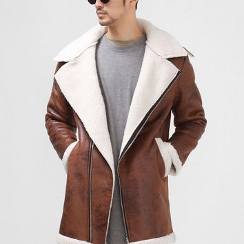 Mens Suede Shearling Long Extended Biker Jacket at Fabrixquare